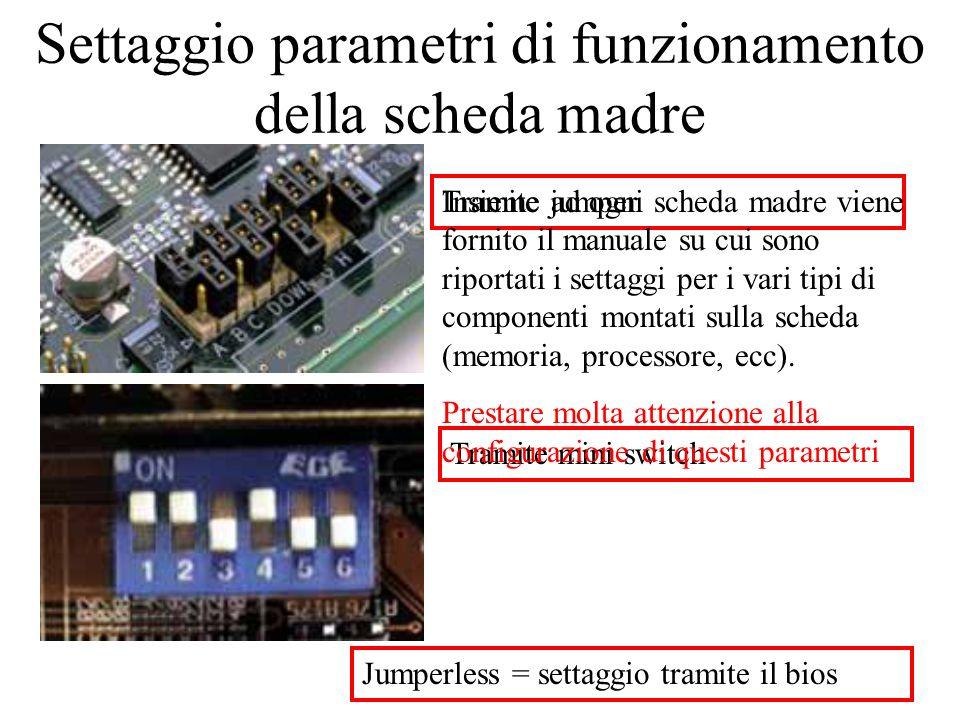 Settaggio parametri di funzionamento della scheda madre Tramite jumper Tramite mini switch Jumperless = settaggio tramite il bios Insieme ad ogni sche