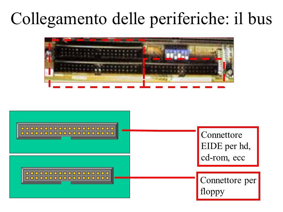 Collegamento delle periferiche: il bus Connettore EIDE per hd, cd-rom, ecc Connettore per floppy