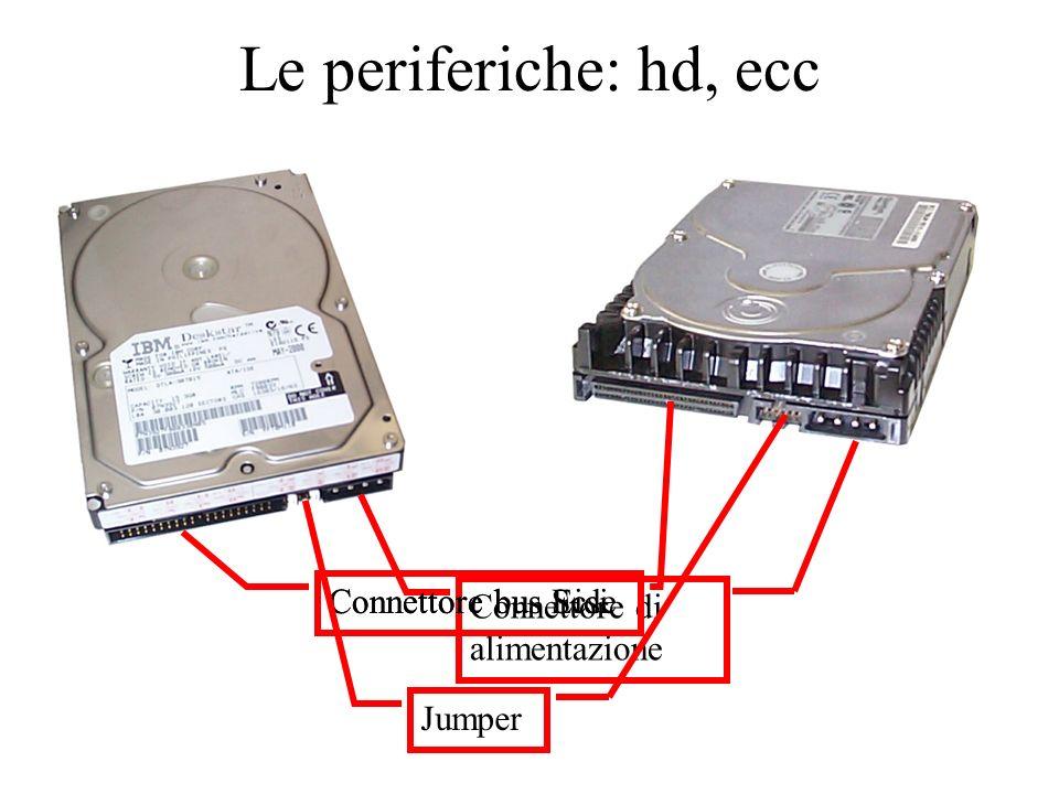 Le periferiche: hd, ecc Connettore di alimentazione Connettore bus Eide Connettore bus Scsi Jumper