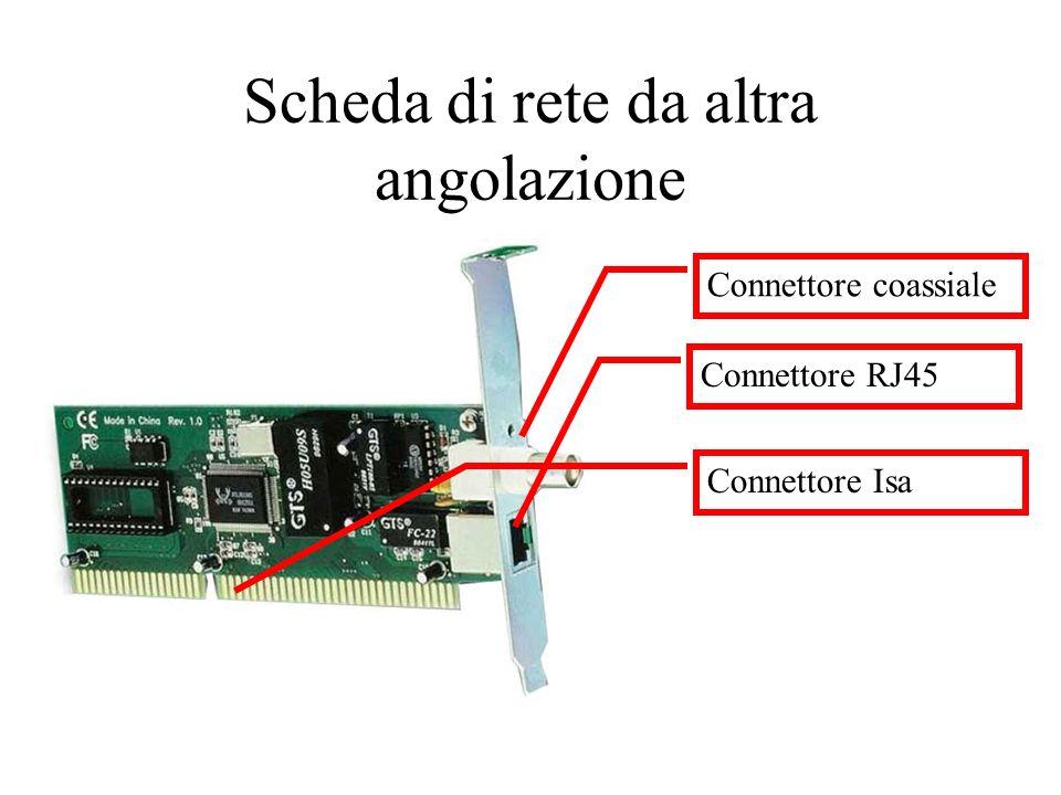 Scheda di rete da altra angolazione Connettore coassiale Connettore RJ45 Connettore Isa