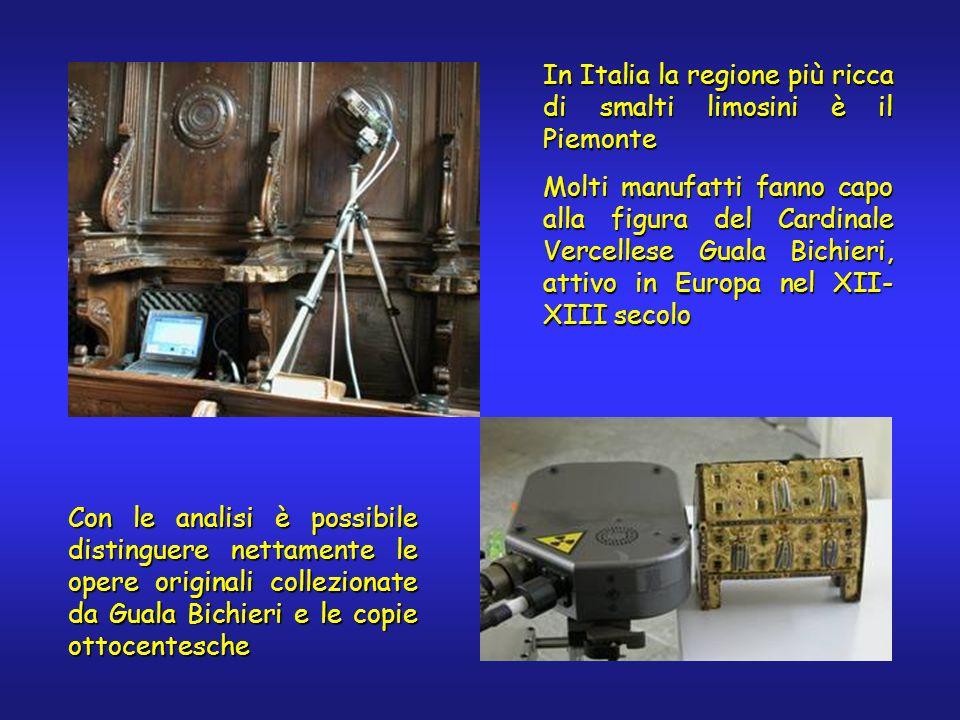 In Italia la regione più ricca di smalti limosini è il Piemonte Molti manufatti fanno capo alla figura del Cardinale Vercellese Guala Bichieri, attivo in Europa nel XII- XIII secolo Con le analisi è possibile distinguere nettamente le opere originali collezionate da Guala Bichieri e le copie ottocentesche