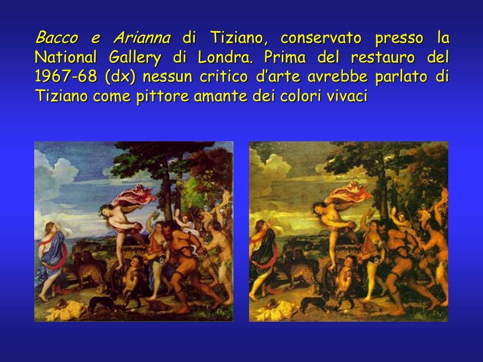 Bacco e Arianna di Tiziano, conservato presso la National Gallery di Londra. Prima del restauro del 1967-68 (dx) nessun critico darte avrebbe parlato