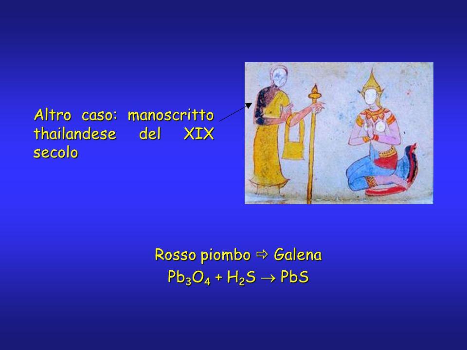 Altro caso: manoscritto thailandese del XIX secolo Rosso piombo Galena Pb 3 O 4 + H 2 S PbS