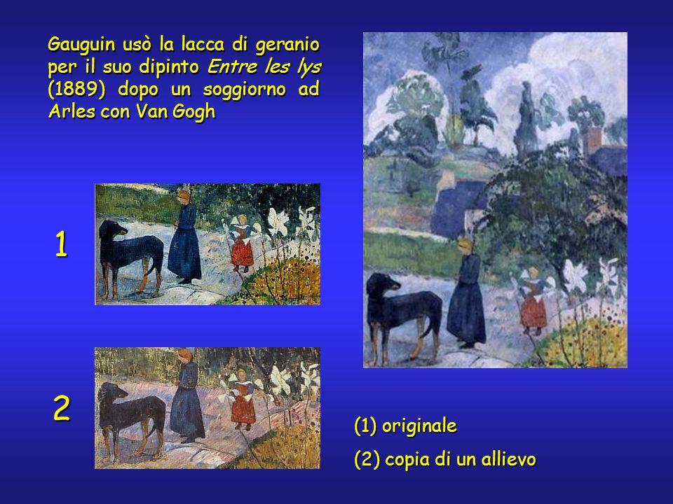 Gauguin usò la lacca di geranio per il suo dipinto Entre les lys (1889) dopo un soggiorno ad Arles con Van Gogh 1 2 (1) originale (2) copia di un alli