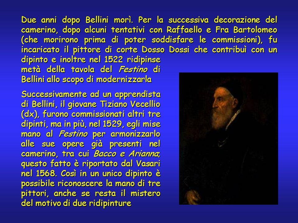 Due anni dopo Bellini morì. Per la successiva decorazione del camerino, dopo alcuni tentativi con Raffaello e Fra Bartolomeo (che morirono prima di po