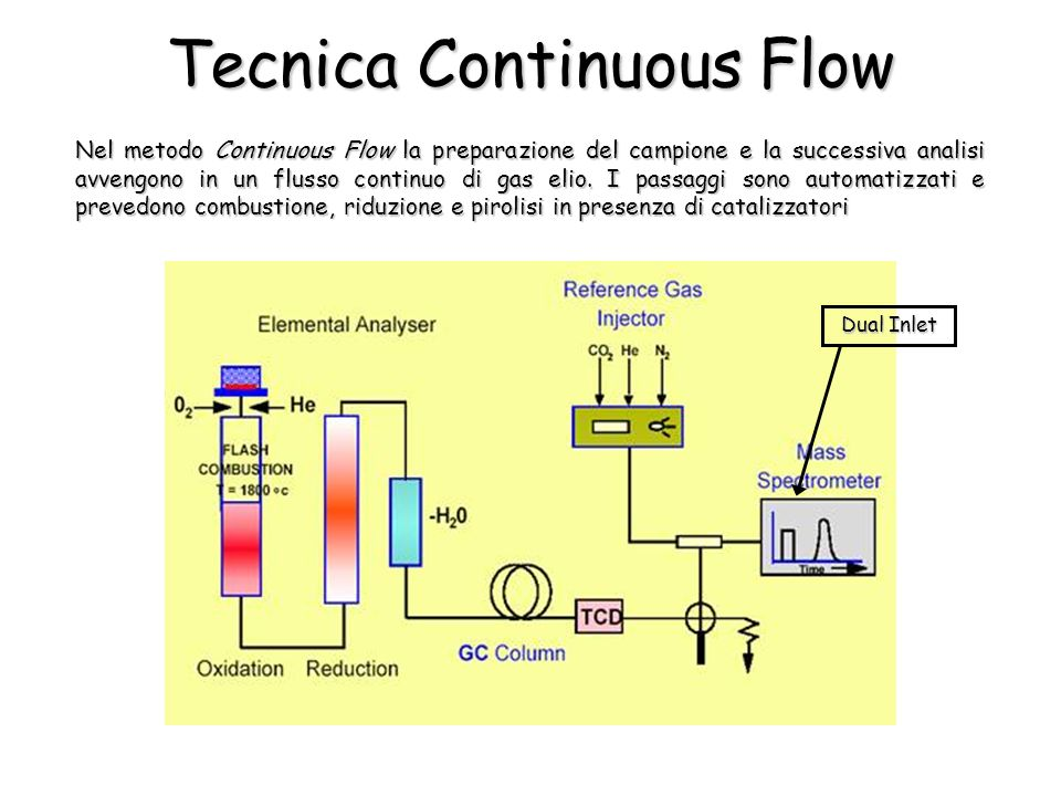 Nel metodo Continuous Flow la preparazione del campione e la successiva analisi avvengono in un flusso continuo di gas elio.