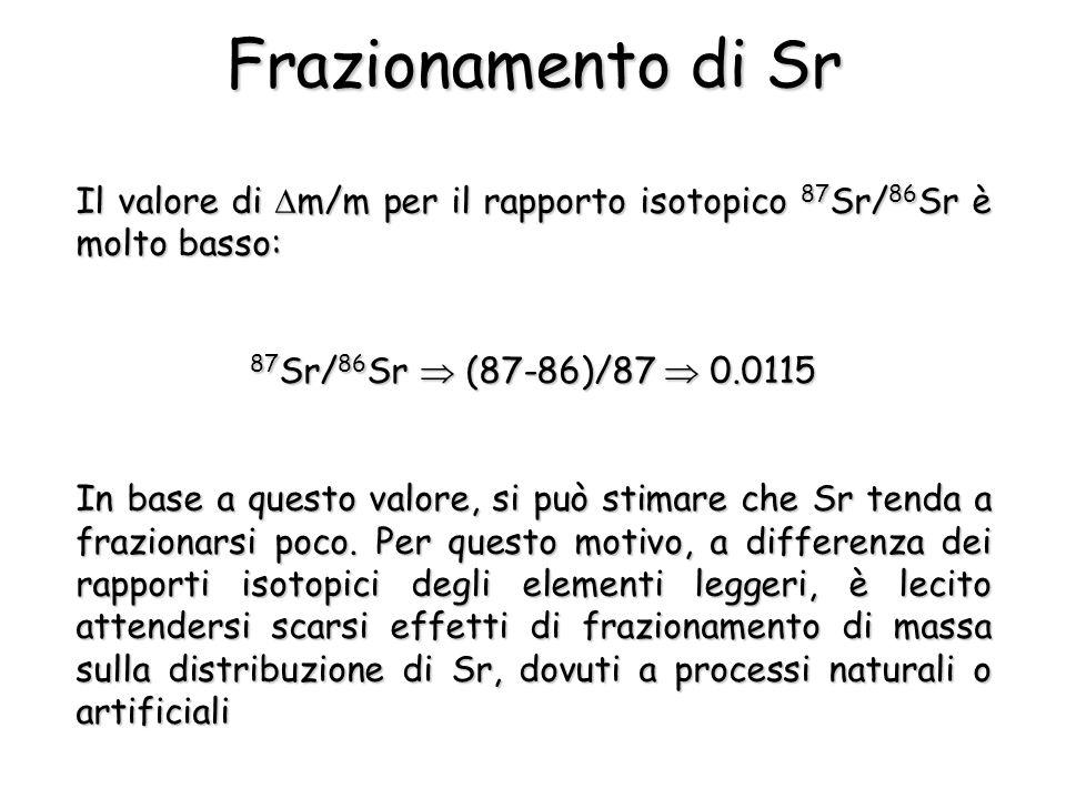 Il valore di m/m per il rapporto isotopico 87 Sr/ 86 Sr è molto basso: 87 Sr/ 86 Sr (87-86)/87 0.0115 In base a questo valore, si può stimare che Sr tenda a frazionarsi poco.