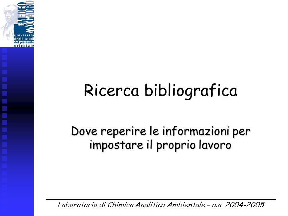 Laboratorio di Chimica Analitica Ambientale – a.a.