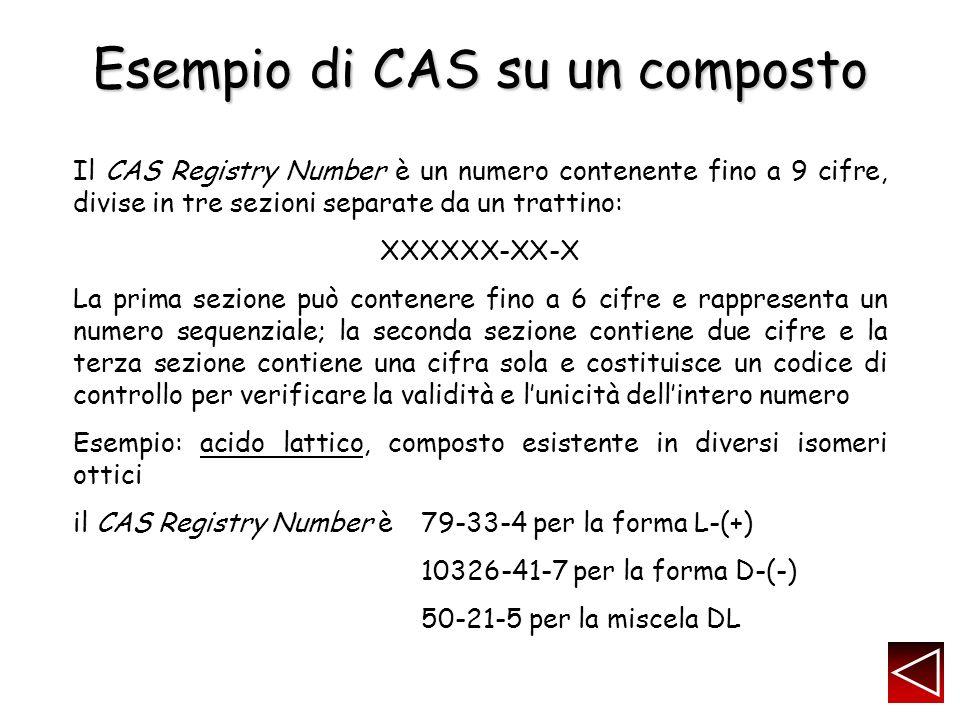 Esempio di CAS su un composto Il CAS Registry Number è un numero contenente fino a 9 cifre, divise in tre sezioni separate da un trattino: XXXXXX-XX-X La prima sezione può contenere fino a 6 cifre e rappresenta un numero sequenziale; la seconda sezione contiene due cifre e la terza sezione contiene una cifra sola e costituisce un codice di controllo per verificare la validità e lunicità dellintero numero Esempio: acido lattico, composto esistente in diversi isomeri ottici il CAS Registry Number è79-33-4 per la forma L-(+) 10326-41-7 per la forma D-(-) 50-21-5 per la miscela DL