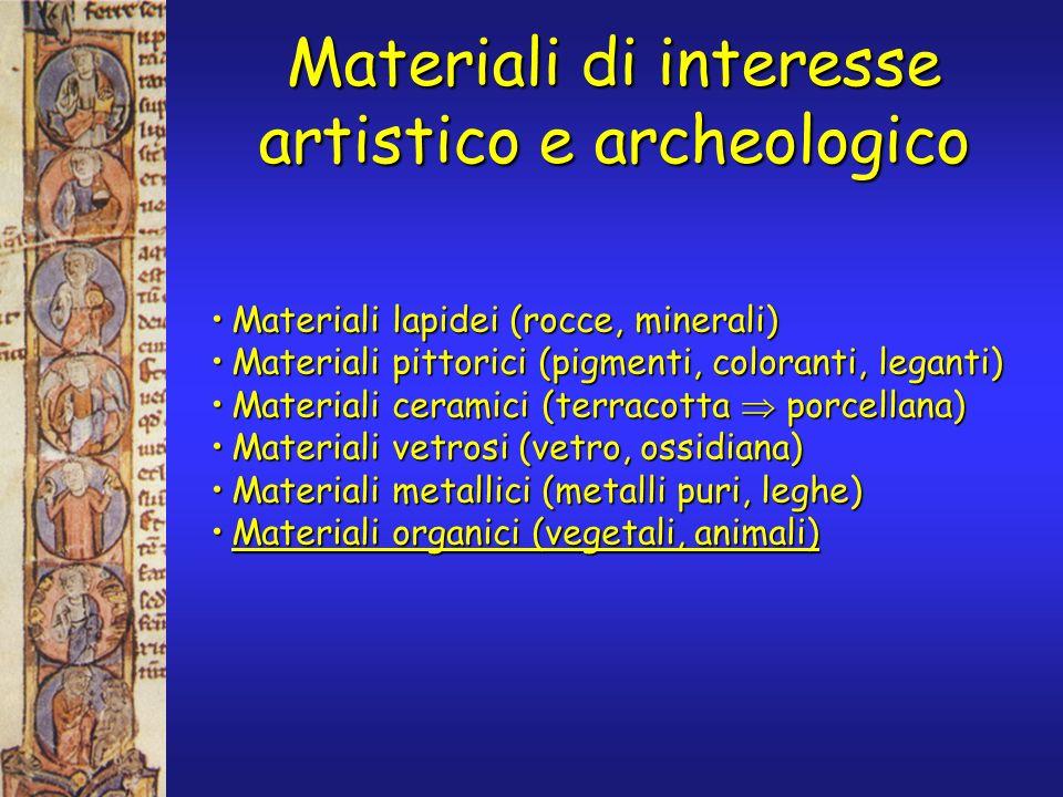 Materiali di interesse artistico e archeologico Materiali lapidei (rocce, minerali)Materiali lapidei (rocce, minerali) Materiali pittorici (pigmenti, coloranti, leganti)Materiali pittorici (pigmenti, coloranti, leganti) Materiali ceramici (terracotta porcellana)Materiali ceramici (terracotta porcellana) Materiali vetrosi (vetro, ossidiana)Materiali vetrosi (vetro, ossidiana) Materiali metallici (metalli puri, leghe)Materiali metallici (metalli puri, leghe) Materiali organici (vegetali, animali)Materiali organici (vegetali, animali)