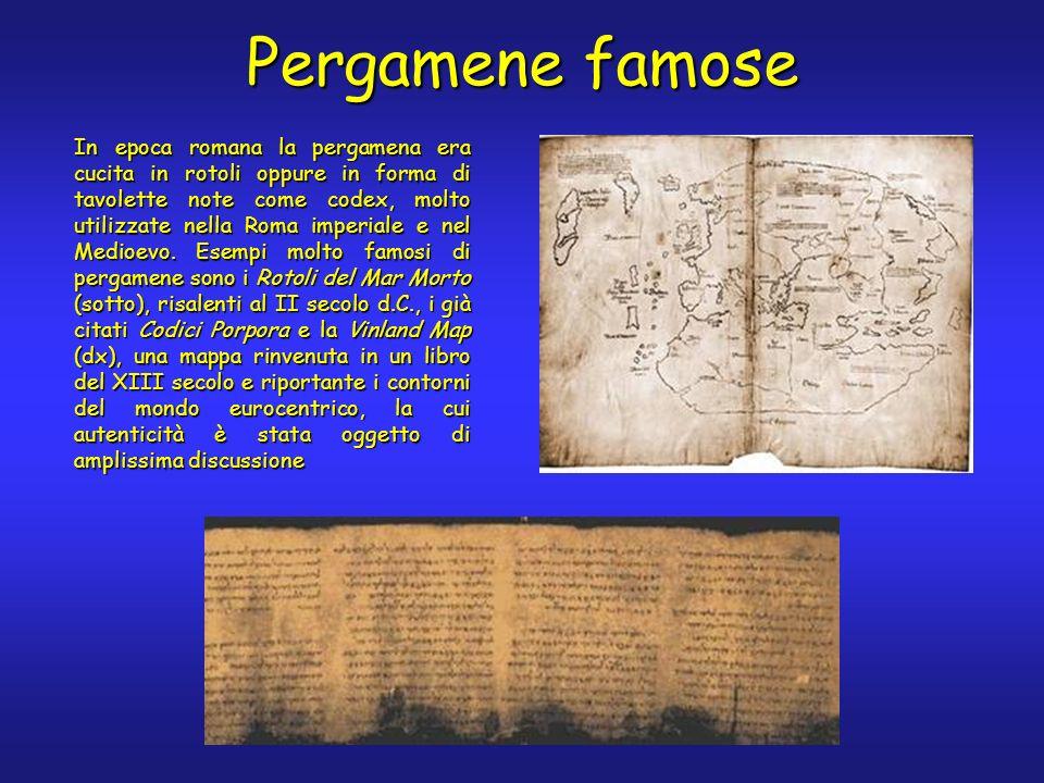 In epoca romana la pergamena era cucita in rotoli oppure in forma di tavolette note come codex, molto utilizzate nella Roma imperiale e nel Medioevo.