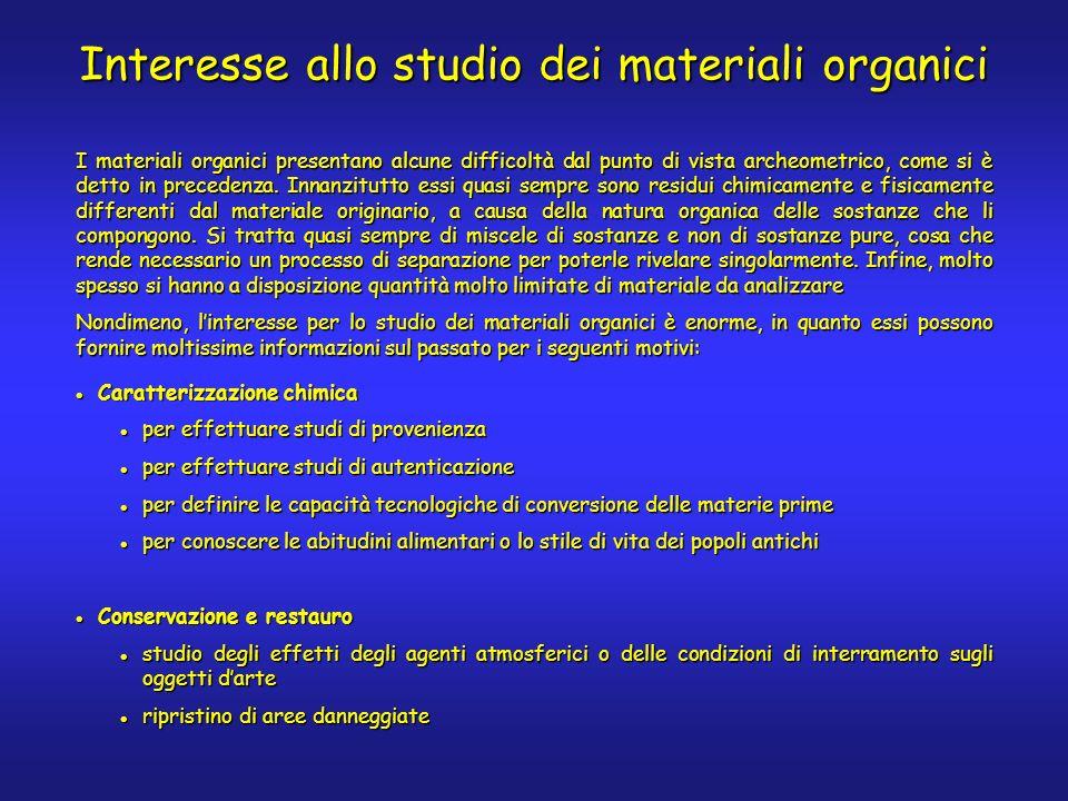 I materiali organici presentano alcune difficoltà dal punto di vista archeometrico, come si è detto in precedenza.