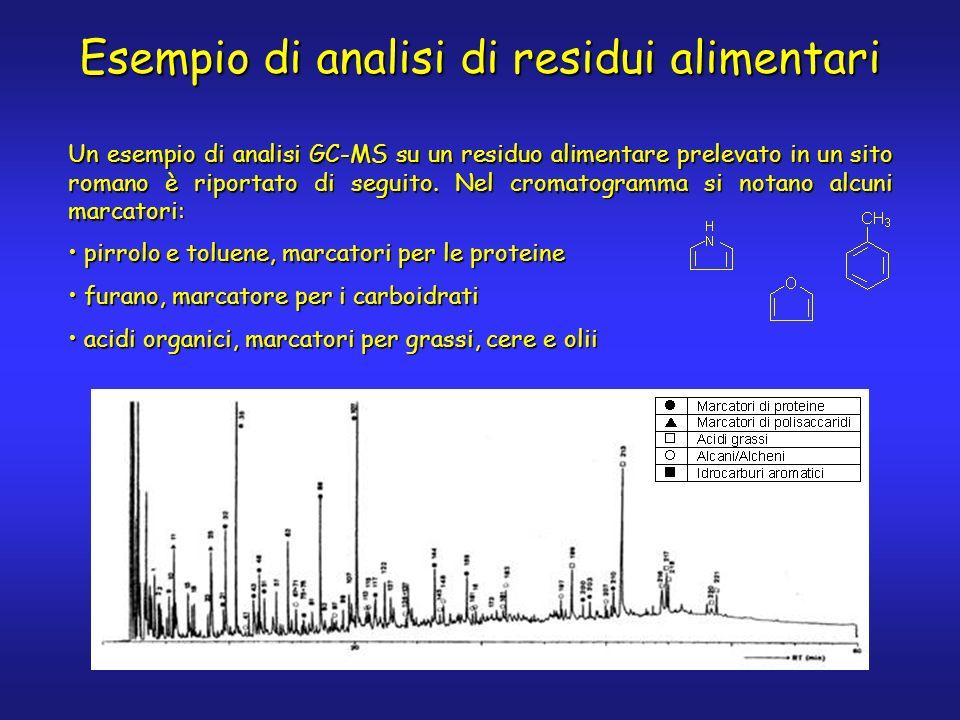 Un esempio di analisi GC-MS su un residuo alimentare prelevato in un sito romano è riportato di seguito.
