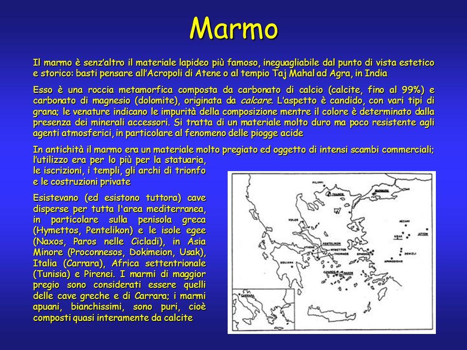 Marmo Il marmo è senzaltro il materiale lapideo più famoso, ineguagliabile dal punto di vista estetico e storico: basti pensare allAcropoli di Atene o