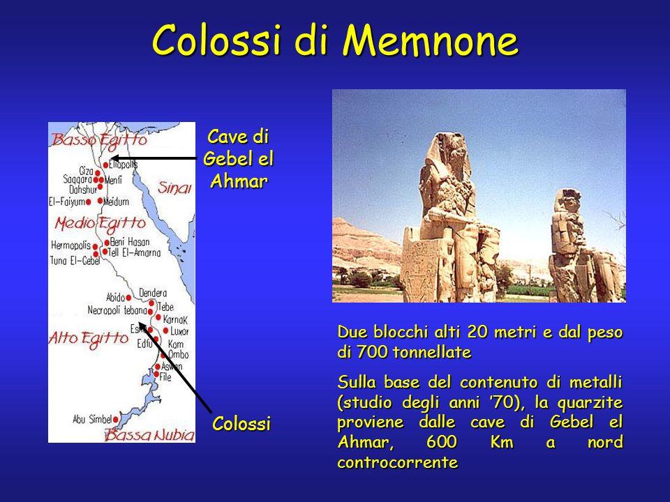 Colossi di Memnone Cave di Gebel el Ahmar Colossi Due blocchi alti 20 metri e dal peso di 700 tonnellate Sulla base del contenuto di metalli (studio degli anni 70), la quarzite proviene dalle cave di Gebel el Ahmar, 600 Km a nord controcorrente