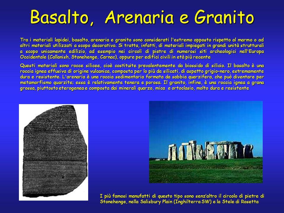 Basalto, Arenaria e Granito Tra i materiali lapidei, basalto, arenaria e granito sono considerati l estremo opposto rispetto al marmo o ad altri materiali utilizzati a scopo decorativo.