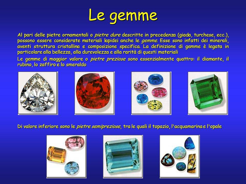 Le gemme Al pari delle pietre ornamentali o pietre dure descritte in precedenza (giada, turchese, ecc.), possono essere considerate materiali lapidei anche le gemme.