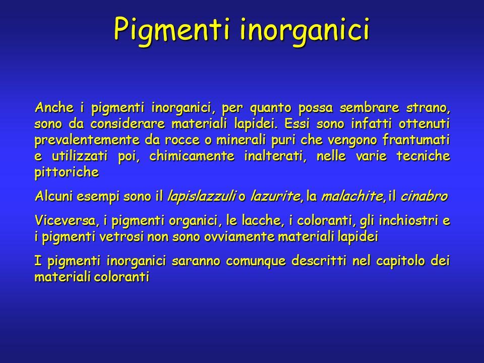 Pigmenti inorganici Anche i pigmenti inorganici, per quanto possa sembrare strano, sono da considerare materiali lapidei. Essi sono infatti ottenuti p