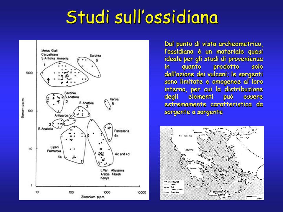 Studi sullossidiana Dal punto di vista archeometrico, lossidiana è un materiale quasi ideale per gli studi di provenienza in quanto prodotto solo dallazione dei vulcani; le sorgenti sono limitate e omogenee al loro interno, per cui la distribuzione degli elementi può essere estremamente caratteristica da sorgente a sorgente