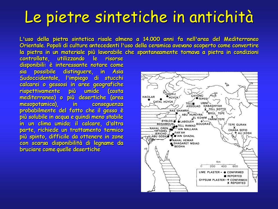 Le pietre sintetiche in antichità L'uso della pietra sintetica risale almeno a 14.000 anni fa nell'area del Mediterraneo Orientale. Popoli di culture