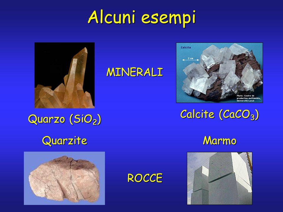 Alcuni esempi Quarzo (SiO 2 ) QuarziteMarmo Calcite (CaCO 3 ) MINERALI ROCCE