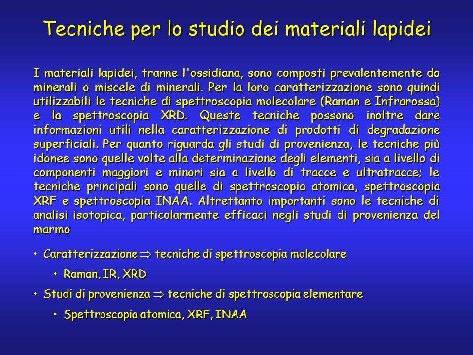 Tecniche per lo studio dei materiali lapidei Caratterizzazione tecniche di spettroscopia molecolareCaratterizzazione tecniche di spettroscopia molecolare Raman, IR, XRDRaman, IR, XRD Studi di provenienza tecniche di spettroscopia elementareStudi di provenienza tecniche di spettroscopia elementare Spettroscopia atomica, XRF, INAASpettroscopia atomica, XRF, INAA I materiali lapidei, tranne l ossidiana, sono composti prevalentemente da minerali o miscele di minerali.