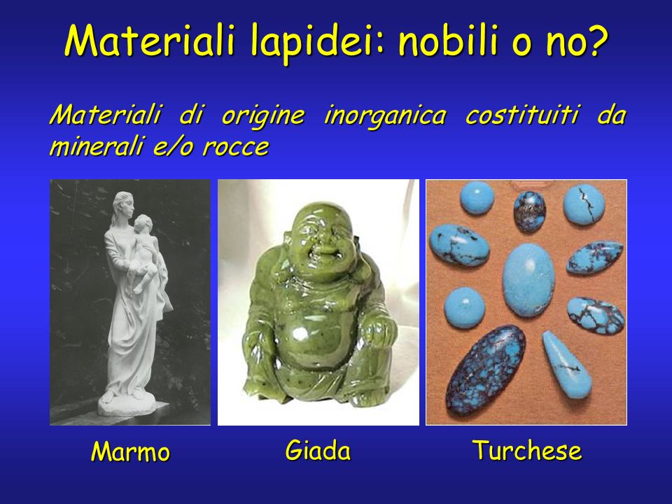 Materiali lapidei: nobili o no? Marmo Giada Turchese Materiali di origine inorganica costituiti da minerali e/o rocce