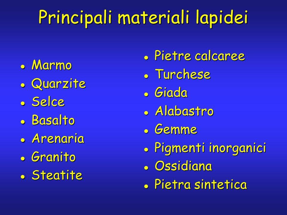 Principali materiali lapidei Marmo Marmo Quarzite Quarzite Selce Selce Basalto Basalto Arenaria Arenaria Granito Granito Steatite Steatite Pietre calc