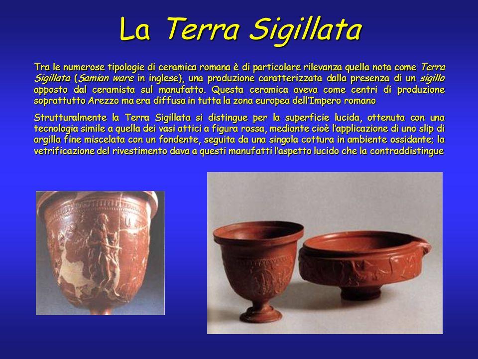 Tra le numerose tipologie di ceramica romana è di particolare rilevanza quella nota come Terra Sigillata (Samian ware in inglese), una produzione caratterizzata dalla presenza di un sigillo apposto dal ceramista sul manufatto.