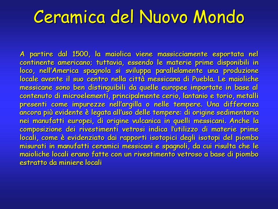 A partire dal 1500, la maiolica viene massicciamente esportata nel continente americano; tuttavia, essendo le materie prime disponibili in loco, nellAmerica spagnola si sviluppa parallelamente una produzione locale avente il suo centro nella città messicana di Puebla.