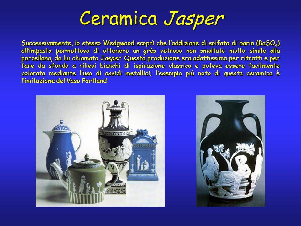 Successivamente, lo stesso Wedgwood scoprì che laddizione di solfato di bario (BaSO 4 ) allimpasto permetteva di ottenere un grès vetroso non smaltato molto simile alla porcellana, da lui chiamato Jasper.