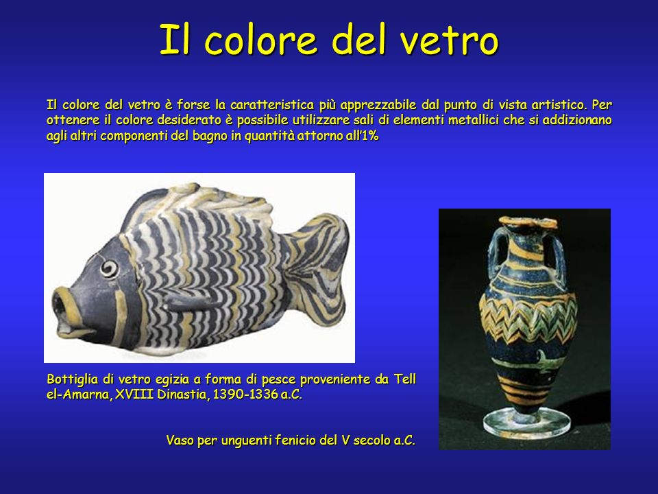 Bottiglia di vetro egizia a forma di pesce proveniente da Tell el-Amarna, XVIII Dinastia, 1390-1336 a.C.