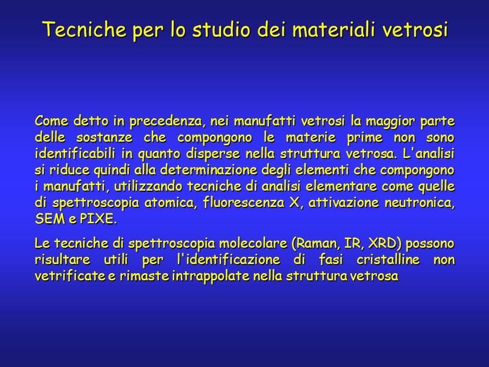 Tecniche per lo studio dei materiali vetrosi Come detto in precedenza, nei manufatti vetrosi la maggior parte delle sostanze che compongono le materie prime non sono identificabili in quanto disperse nella struttura vetrosa.