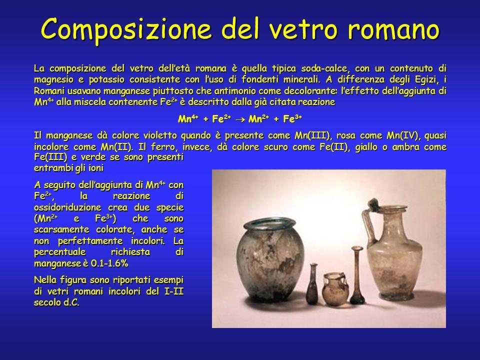 La composizione del vetro delletà romana è quella tipica soda-calce, con un contenuto di magnesio e potassio consistente con luso di fondenti minerali.