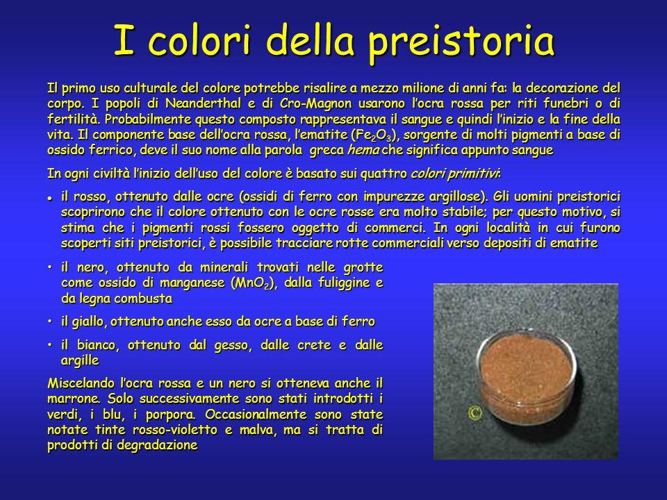 I colori della preistoria Il primo uso culturale del colore potrebbe risalire a mezzo milione di anni fa: la decorazione del corpo.