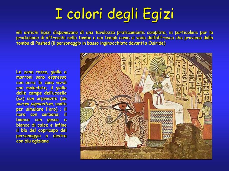 I colori degli Egizi Gli antichi Egizi disponevano di una tavolozza praticamente completa, in particolare per la produzione di affreschi nelle tombe e nei templi come si vede dallaffresco che proviene dalla tomba di Pashed (il personaggio in basso inginocchiato davanti a Osiride) Le zone rosse, gialle e marroni sono espresse con ocre; le zone verdi con malachite; il giallo delle zampe delluccello (sx) con orpimento (da aurum pigmentum, usato per simulare l oro) ; il nero con carbone; il bianco con gesso e bianco di calce e infine il blu del copricapo del personaggio a destra con blu egiziano