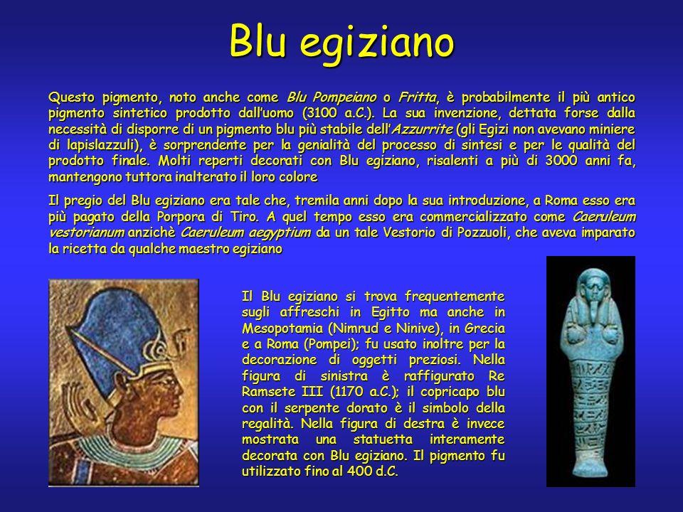 Blu egiziano Questo pigmento, noto anche come Blu Pompeiano o Fritta, è probabilmente il più antico pigmento sintetico prodotto dalluomo (3100 a.C.).