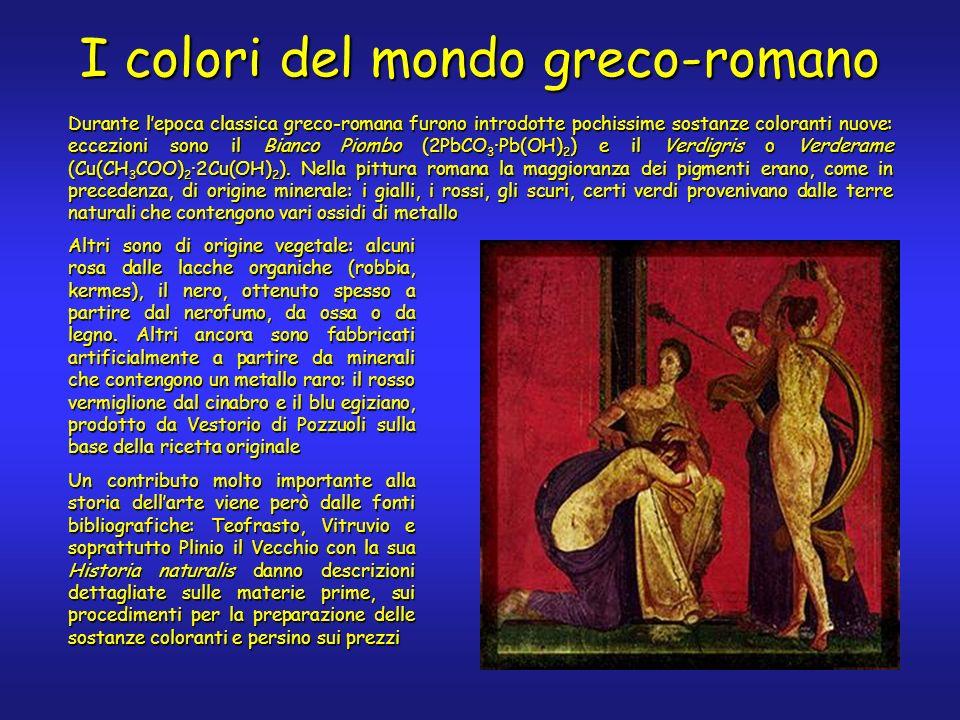 I colori del mondo greco-romano Durante lepoca classica greco-romana furono introdotte pochissime sostanze coloranti nuove: eccezioni sono il Bianco Piombo (2PbCO 3 ·Pb(OH) 2 ) e il Verdigris o Verderame (Cu(CH 3 COO) 2 ·2Cu(OH) 2 ).