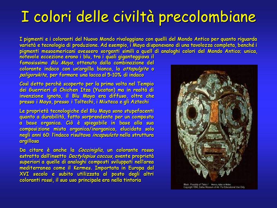 I colori delle civiltà precolombiane notevole eccezione erano i blu, tra i quali giganteggiava il famosissimo Blu Maya, ottenuto dalla combinazione del colorante indaco con unargilla bianca, la attapulgite o paligorskite, per formare una lacca al 5-10% di indaco Così detto perchè scoperto per la prima volta nel Tempio dei Guerrieri di Chichen Itza (Yucatan) ma in realtà di invenzione ignota, il Blu Maya era diffuso, oltre che presso i Maya, presso i Toltechi, i Mixteca e gli Aztechi Le proprietà tecnologiche del Blu Maya sono stupefacenti quanto a durabilità, fatto sorprendente per un composto a base organica.
