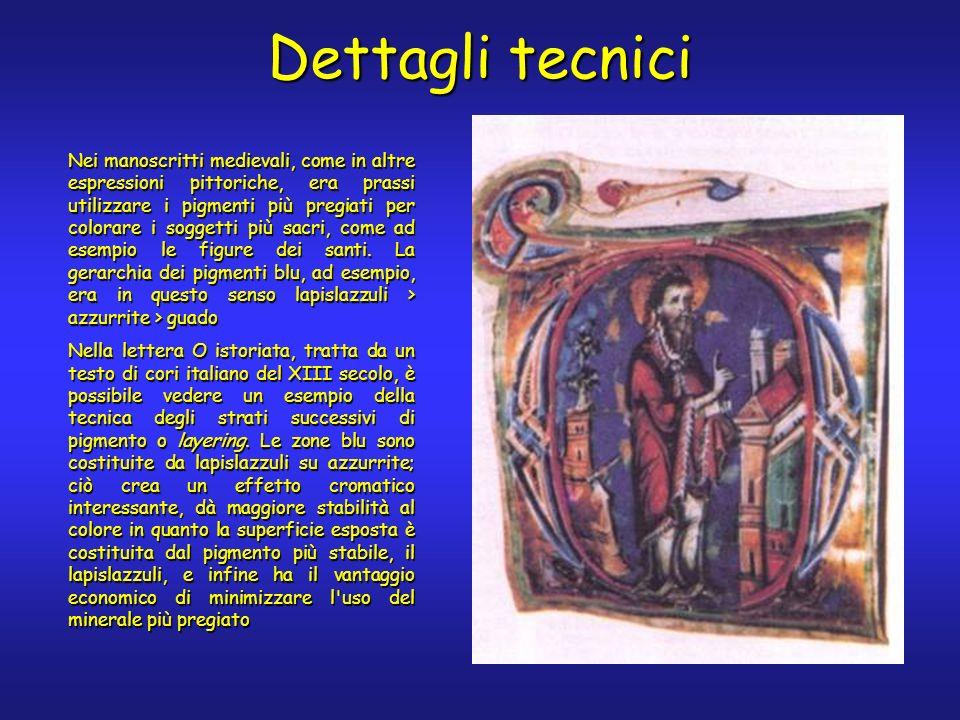 Dettagli tecnici Nei manoscritti medievali, come in altre espressioni pittoriche, era prassi utilizzare i pigmenti più pregiati per colorare i soggetti più sacri, come ad esempio le figure dei santi.