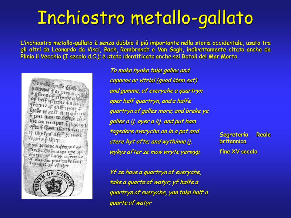 Inchiostro metallo-gallato Linchiostro metallo-gallato è senza dubbio il più importante nella storia occidentale, usato tra gli altri da Leonardo da Vinci, Bach, Rembrandt e Van Gogh, indirettamente citato anche da Plinio il Vecchio (I secolo d.C.); è stato identificato anche nei Rotoli del Mar Morto To make hynke take galles and coporos or vitrial (quod idem est) and gumme, of everyche a quartryn oper helf quartryn, and a halfe quartryn of galles more; and breke ye galles a ij.