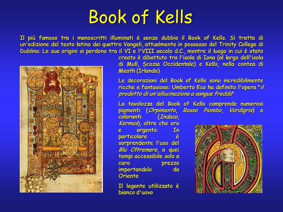 Book of Kells coloranti (Indaco, Kermes), oltre che oro e argento.