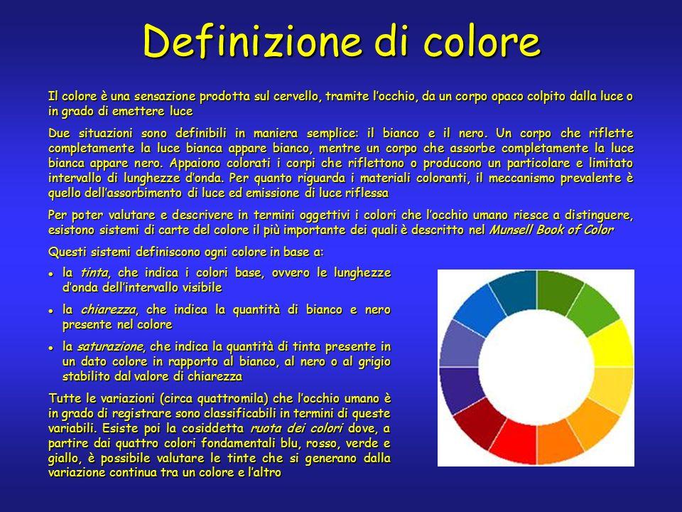 Definizione di colore la tinta, che indica i colori base, ovvero le lunghezze donda dellintervallo visibile la tinta, che indica i colori base, ovvero le lunghezze donda dellintervallo visibile la chiarezza, che indica la quantità di bianco e nero presente nel colore la chiarezza, che indica la quantità di bianco e nero presente nel colore la saturazione, che indica la quantità di tinta presente in un dato colore in rapporto al bianco, al nero o al grigio stabilito dal valore di chiarezza la saturazione, che indica la quantità di tinta presente in un dato colore in rapporto al bianco, al nero o al grigio stabilito dal valore di chiarezza Il colore è una sensazione prodotta sul cervello, tramite locchio, da un corpo opaco colpito dalla luce o in grado di emettere luce Due situazioni sono definibili in maniera semplice: il bianco e il nero.