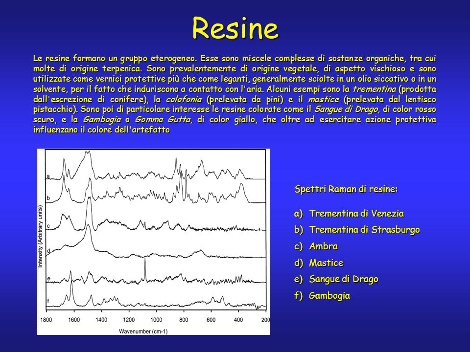 Resine Le resine formano un gruppo eterogeneo.