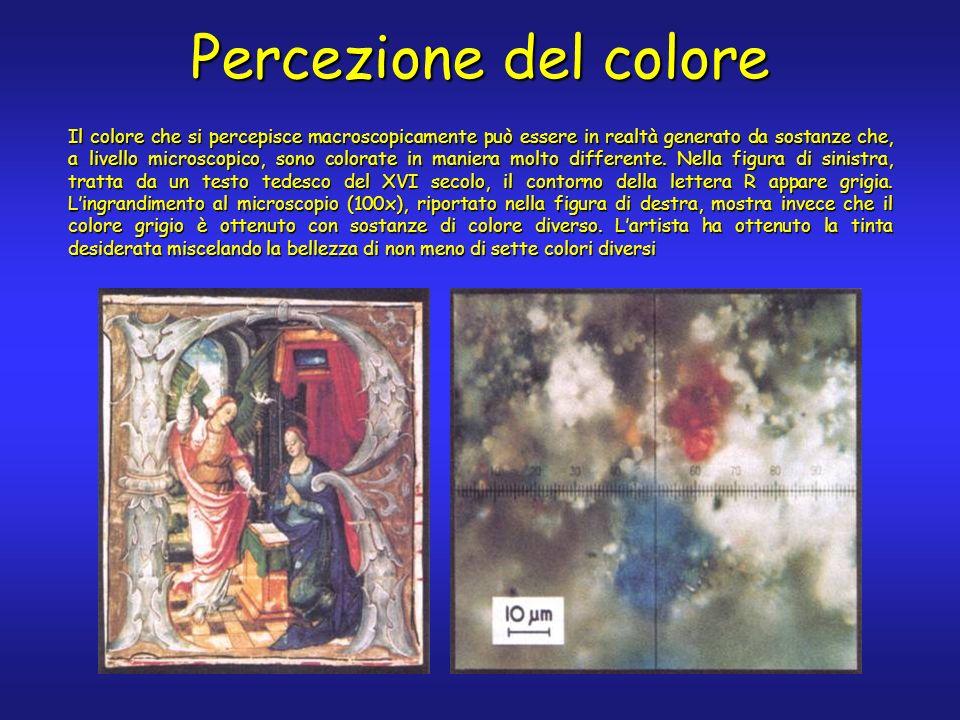 Percezione del colore Il colore che si percepisce macroscopicamente può essere in realtà generato da sostanze che, a livello microscopico, sono colorate in maniera molto differente.