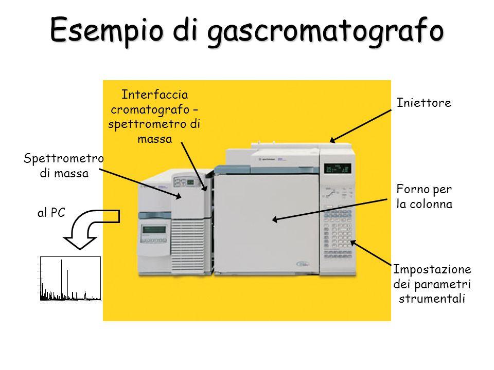Esempio di gascromatografo Forno per la colonna Iniettore Impostazione dei parametri strumentali Interfaccia cromatografo – spettrometro di massa Spettrometro di massa al PC