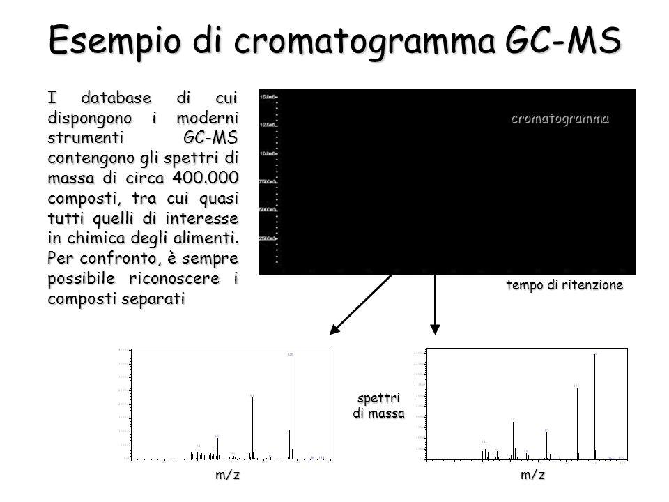 Esempio di cromatogramma GC-MS cromatogramma tempo di ritenzione spettri di massa m/z I database di cui dispongono i moderni strumenti GC-MS contengono gli spettri di massa di circa 400.000 composti, tra cui quasi tutti quelli di interesse in chimica degli alimenti.