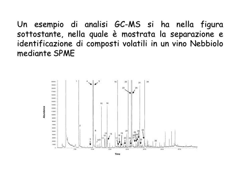 Un esempio di analisi GC-MS si ha nella figura sottostante, nella quale è mostrata la separazione e identificazione di composti volatili in un vino Nebbiolo mediante SPME