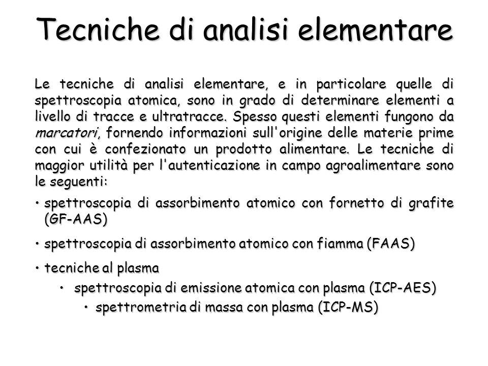 Tecniche di analisi elementare Le tecniche di analisi elementare, e in particolare quelle di spettroscopia atomica, sono in grado di determinare eleme