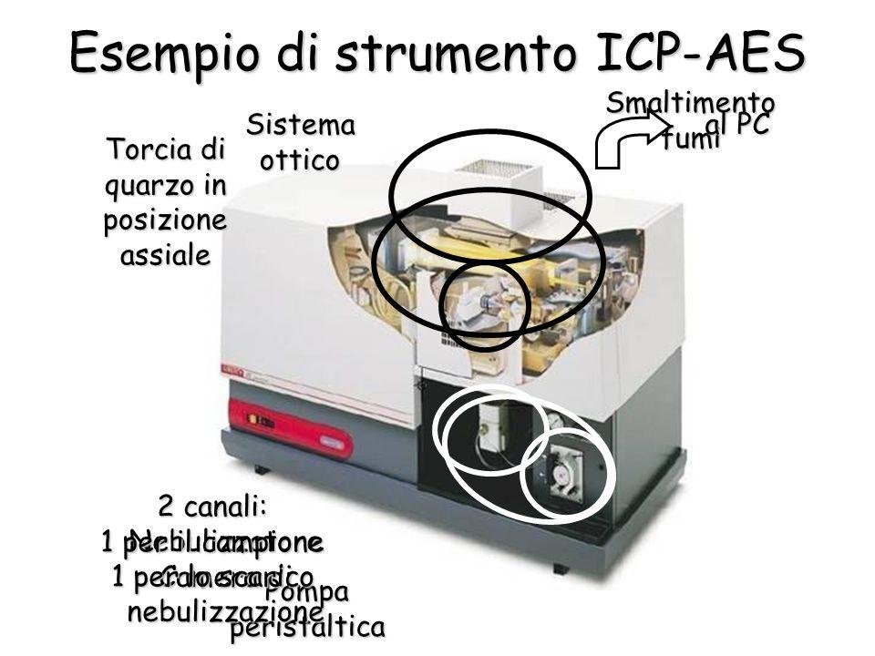 Esempio di strumento ICP-AES Pompa peristaltica Nebulizzatore Camera di nebulizzazione Smaltimento fumi Sistema ottico 2 canali: 1 per il campione 1 p
